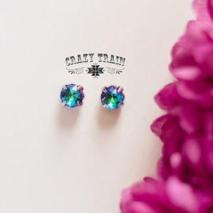 Crazy Train Turquoise Glam Girl Stud Earrings